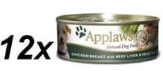 Applaws Konzerva Dog - kura, hovädzia pečeň a zelenina 12 x 156g