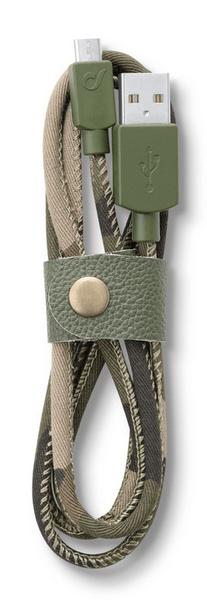 CellularLine Datový kabel LONGLIFE, microUSB, textilní obal, design Camouflage
