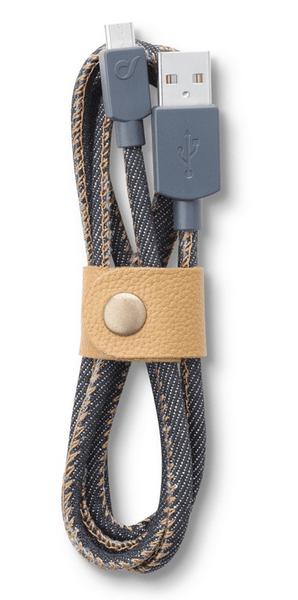 CellularLine Datový kabel LONGLIFE, microUSB, textilní obal, design Jeans