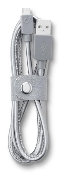 CellularLine Datový kabel LONGLIFE, microUSB, textilní obal, design Leather