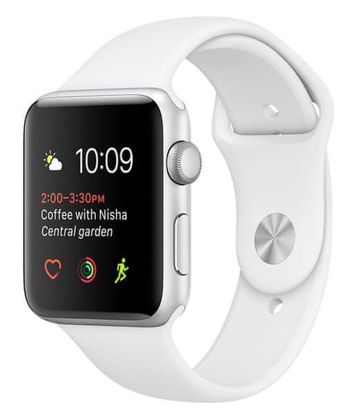 Apple Watch Series 1, 42 mm, stříbrný hliník – bílý sportovní řemínek