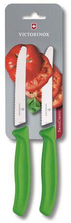 Victorinox nož za paradižnik z valovitim rezilom (6.7836.L114B), 2 kosa, zelen