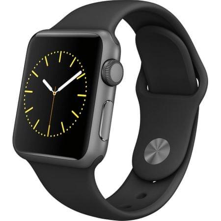 Apple Watch Series 2, 38 mm, vesmírně šedý hliník – černý sportovní řemínek