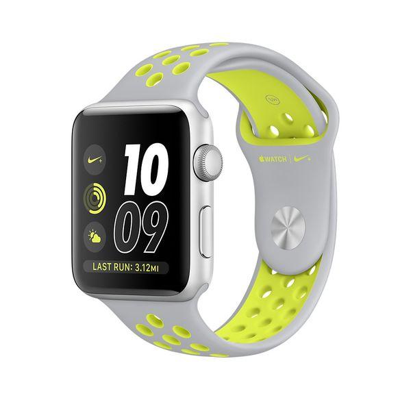 Apple Watch Nike+, 38 mm, stříbrný hliník – matně stříbrný Nike sporotvní řemínek