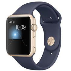 Apple Watch Sport, 42 mm, zlatý hliník – modrý sportovní řemínek