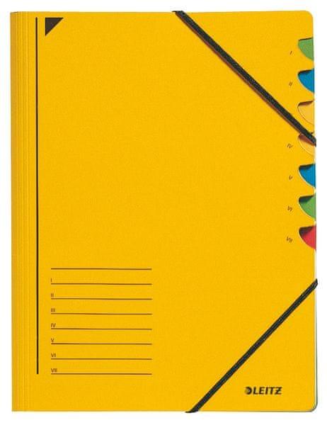 Třídící desky s gumičkou Leitz A4, 7 listů, žluté