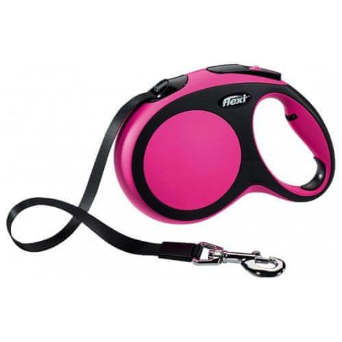 Flexi Vodítko New Comfort M pásek 5m/25kg růžové