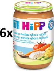 HiPP Jemné cestoviny s morskou rybou a rajčinami, 6 × 220g