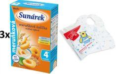 Sunárek Marhuľová kašička mliečna, 3x225g