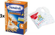 Sunárek Krupicová kašička s medom na dobrú noc mliečna, 3x225g