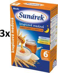 Sunárek Krupicová kašička s medem na dobrou noc mléčná, 3x225g