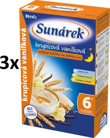 Sunárek Krupicová kašička s vanilkou na dobrou noc mléčná, 3x225g