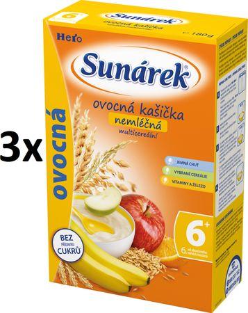 Sunárek Sunarka ovocná kašička s osmimi cereáliami 3 x 180g