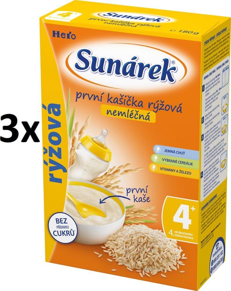 Sunárek První kašička rýžová nemléčná, 3x180g - expirace 1/2021