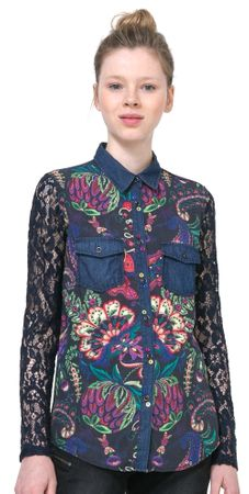 Desigual ženska srajca Lace S modra