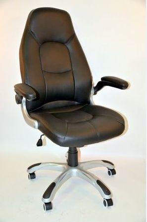 Pisarniški stol K-8332, usnjen, črn