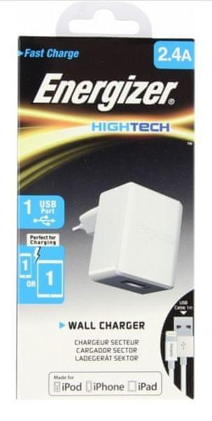 Energizer Nabíječka HighTech, lightning kabel, bílá