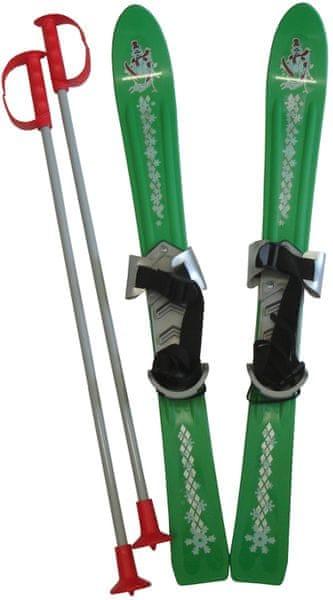 Acra Lyže dětské + hůlky + vázání 70 cm zelená
