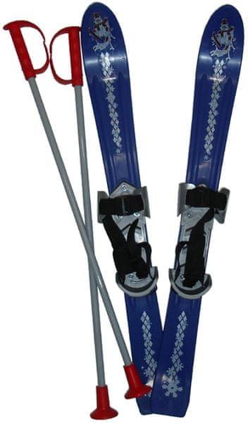 Acra Lyže dětské + hůlky + vázání 70 cm modrá