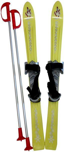 Acra Lyže dětské + hůlky + vázání 90 cm žlutá