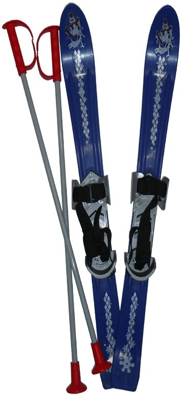 Acra Lyže dětské + hůlky + vázání 90 cm modrá