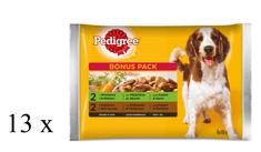 Pedigree Adult szaszetki dla psa z wołowiną i królikiem/ z indykiem i marchewką 13 x (4 x 100 g)