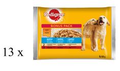 Pedigree Junior, saszetki dla młodych psów, z kurczakiem i ryżem/ z wołowiną i ryżem 13 x (4 x 100 g)