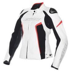 Dainese rACING D1 PELLE LADY dámská bunda na motorku, bílá/černá/fluo-červená, kůže