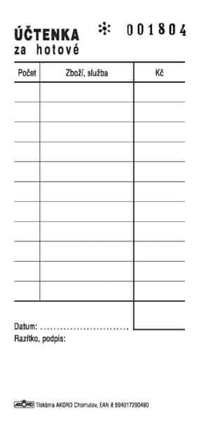 Účtenka za hotové, 1/3 A5, číslovaná, blok 2 x 50 L, samopropisovací