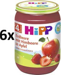 HiPP BIO Jablka s jahodami a malinami - 6x190 g