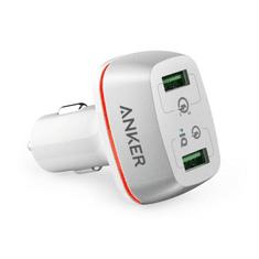 Anker auto punjač PowerDrive+ 2, 42W, QC 3.0, bijeli
