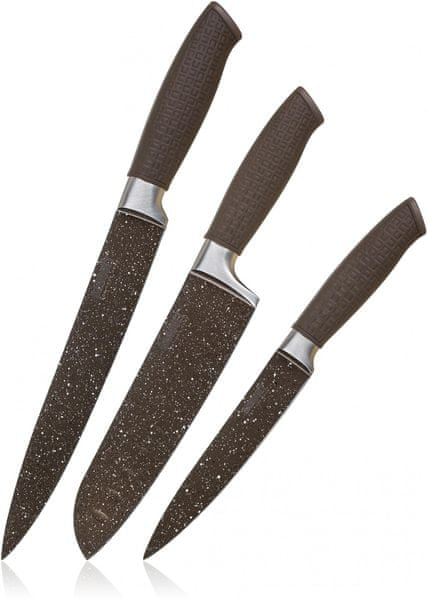 Banquet Sada nožů s nepřilnavým povrchem PREMIUM Dark Brown, 3 ks