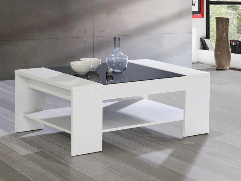 BRADY, konferenční stolek, bílá/černé sklo