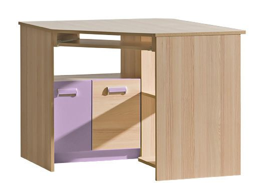 LORENTTO, rohový stůl L11, jasan/fialová