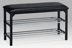 2-policový botník/taburet, černá, 83168-13 BK