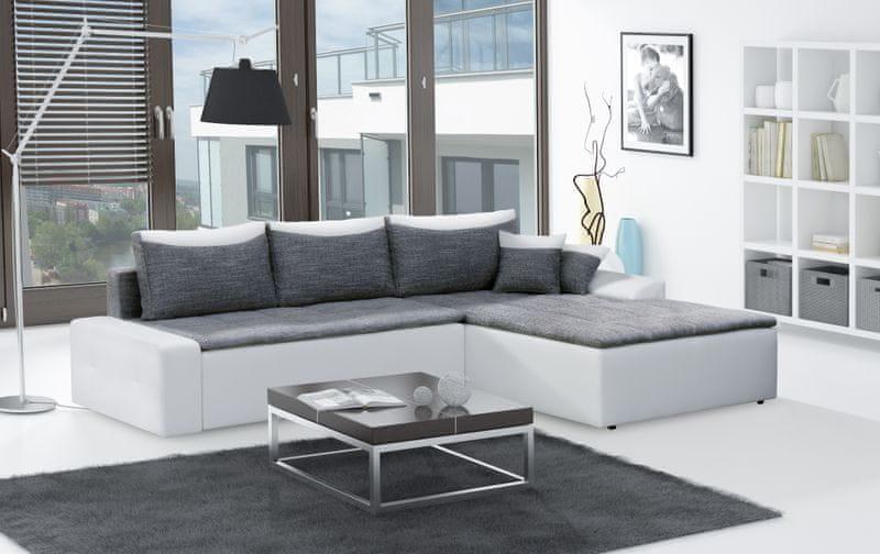 Rohová sedačka MAXIMO, univerzální, šedá/bílá