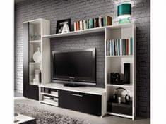 Obývací stěna CLOU, bílá/černý mat