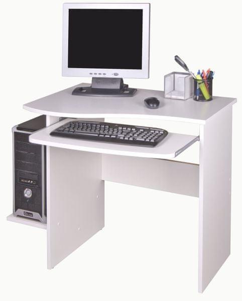 PC stůl s výsuvnou deskou MAXIM, bílá