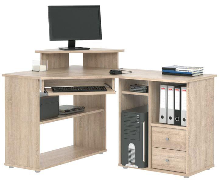 Rohový PC stůl THEODOR, dub sonoma