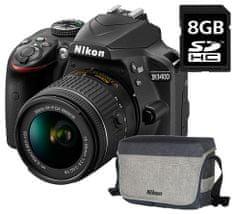 NIKON D3400 + AF-P 18-55 VR Fényképezőgép + 8Gb kártya + Táska