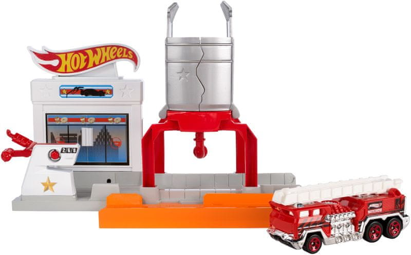 Hot Wheels Skládací herní set Výbuch na pumpě