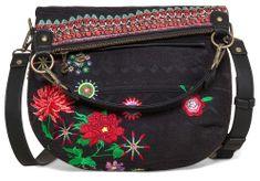 Desigual černá kabelka Folded Flor Mex