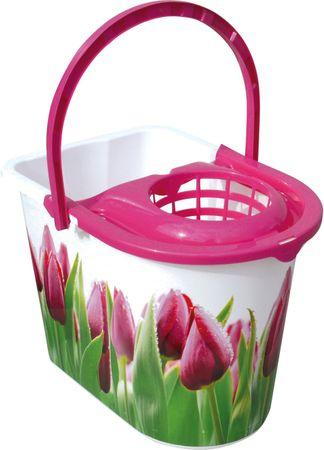 York Wiadro Tulip 14 l z różową wirówką