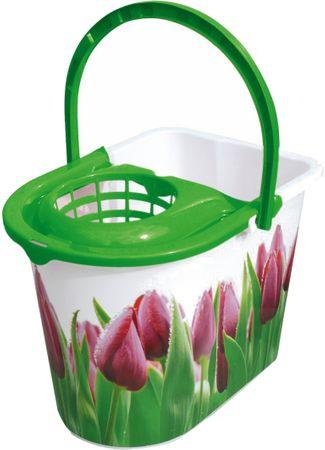 York vedro z ožemalnikom Tulip, 14 l, zeleno