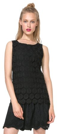 Desigual ženska obleka Barcelona 40 črna