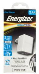 Energizer Nabíječka HighTech, 2 USB, micro-USB kabel, 2,4A, bílá