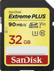 SanDisk spominska kartica Extreme Plus SDHC, 32 GB, 90 MB/s, Class 10, UHS-I U3 V30