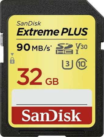 SanDisk memorijska kartica Extreme Plus SDHC, 32 GB, 90 MB/s, Class 10, UHS-I U3 V30