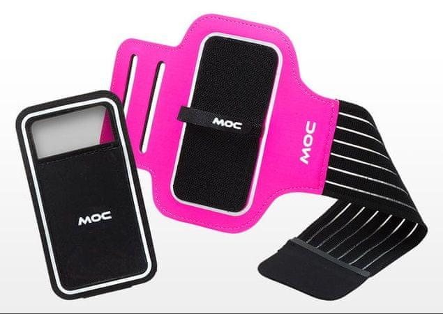 MOC, Sportovní pouzdro na paži se suchým zipem, XL, růžová