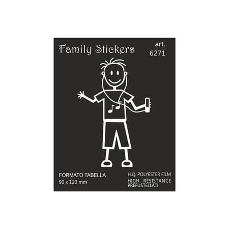 nalepka Family Boy listening music 9x12cm (6271)
